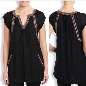 🍀LUCKY BRAND TEAGAN Beaded Embroidered Tunic